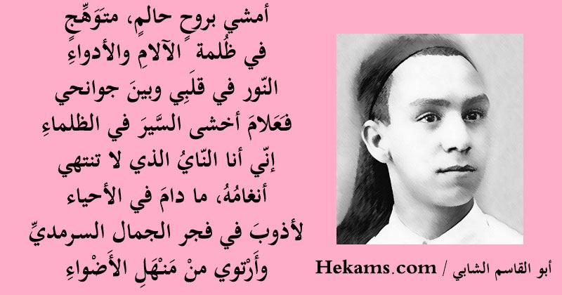 اشعار ابو القاسم الشابي عن الطموح حكم
